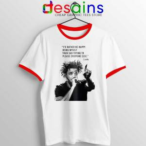 J Cole Quotes Being Myself Red Ringer Tee American Rapper Ringers