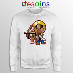 Mario Han Solo White Sweatshirt Star Wars Super Mario Sweaters