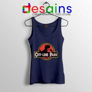 Off Line Park Navy Tank Top Jurassic Park T-Rex Dinosaur Tops S-3XL