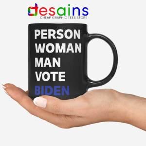 Person Woman Man Vote Biden Black Mug Vote Blue 2020 Coffee Mugs