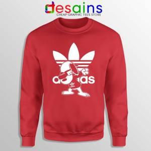 Snoopy Dab Three Stripes Red Sweatshirt Funny Adidas Dog Sweaters