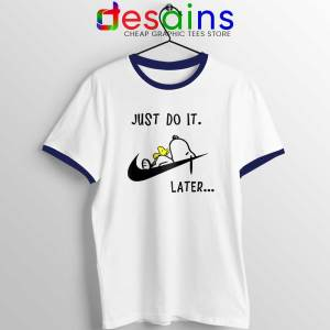Snoopy Just Do it Later Navy Ringer Tee Lazy Peanuts Dog T-shirts