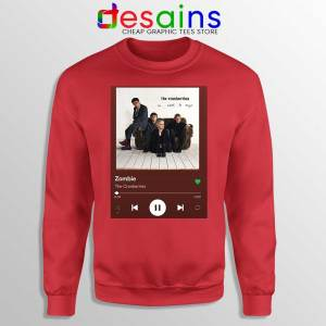 Zombie The Cranberries Red Sweatshirt Rock Band Merch Sweaters