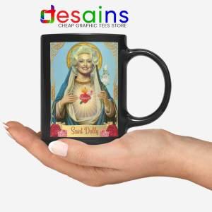 Saint Dolly Parton Black Mug American Singer Ceramic Coffee Mugs