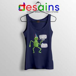 Kermit The Frog Navy Tank Top Yer A Wizard Tops Size S-3XL