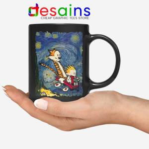 Calvin Hobbes Stary Night Black Mug Comic Strip Coffee Mugs