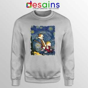 Calvin Hobbes Stary Night Sport Grey Sweatshirt Comic Strip Sweaters