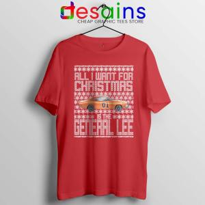 Dukes Hazzard Ugly Christmas Red Tshirt General Lee Car Tees