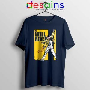 We Will Rock You Navy Tshirt Freddie Mercury Kill Bill Tee Shirts