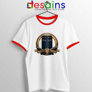 Allons y Geronimo Red Tardis Ringer Tee Doctor Who T-shirts