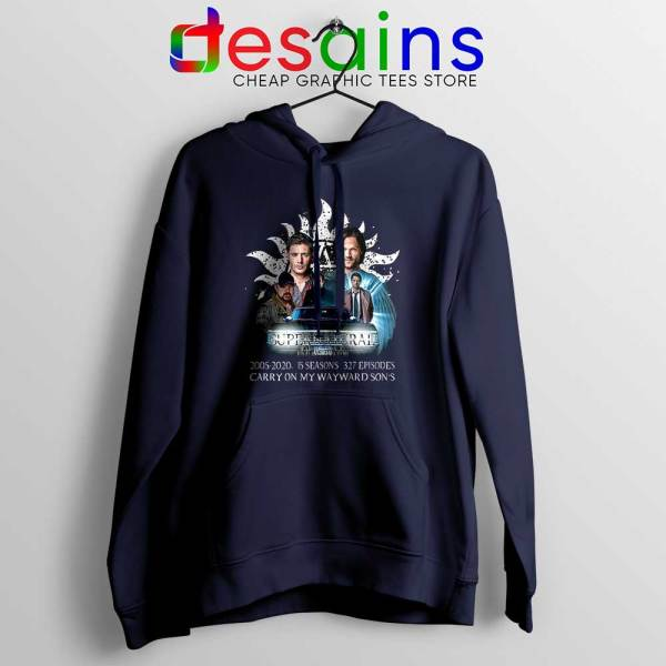 Supernatural Family Navy Hoodie Dont End With Blood 4W Jacket