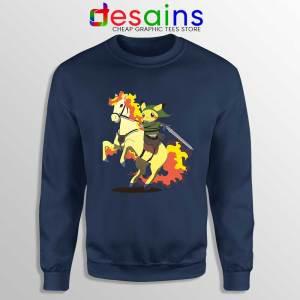 Cute Pikachu Zelda Navy Sweatshirt Pokemon Merch