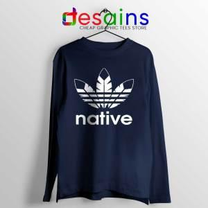 Native American Adidas Navy Long Sleeve Tee Logo