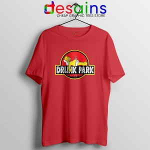 Homer Drinking Beer Red T Shirt Drunk Park Simpsons