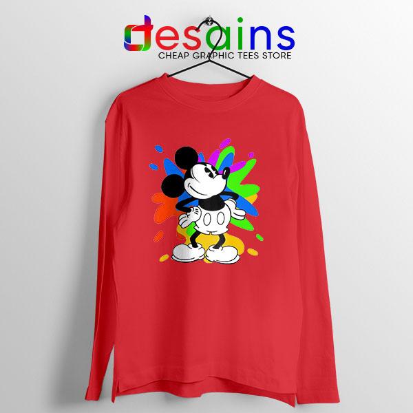 Mickey Mouse On Disney Art Red Long Sleeve Tee Cartoon