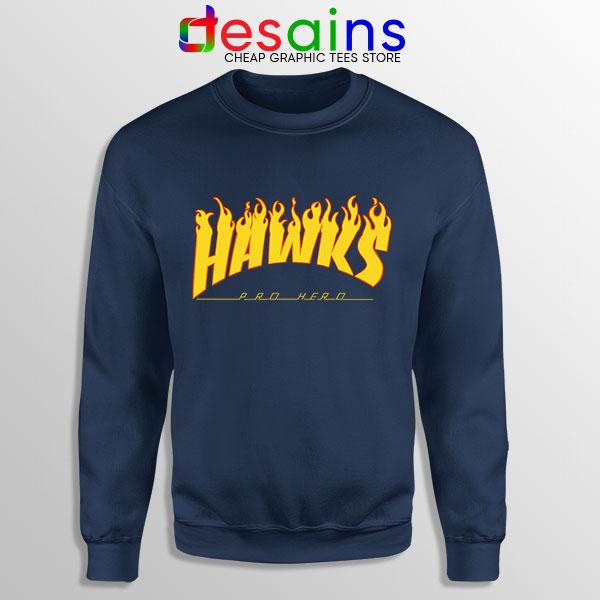 Hawks Logo Parody Navy Sweatshirt My Hero Academia