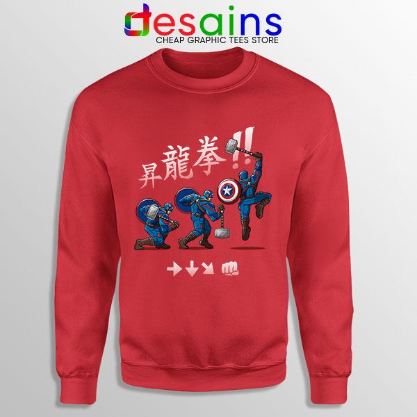 Captain America Shoryuken Red Sweatshirt Street Fighter