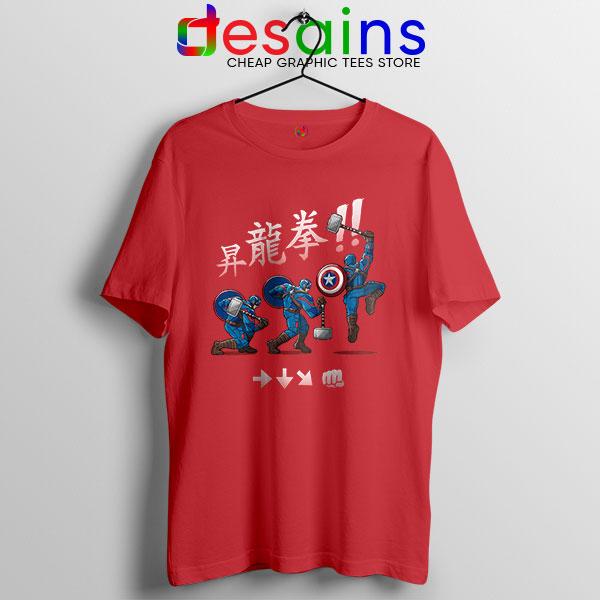Captain America Shoryuken Red T Shirt Street Fighter