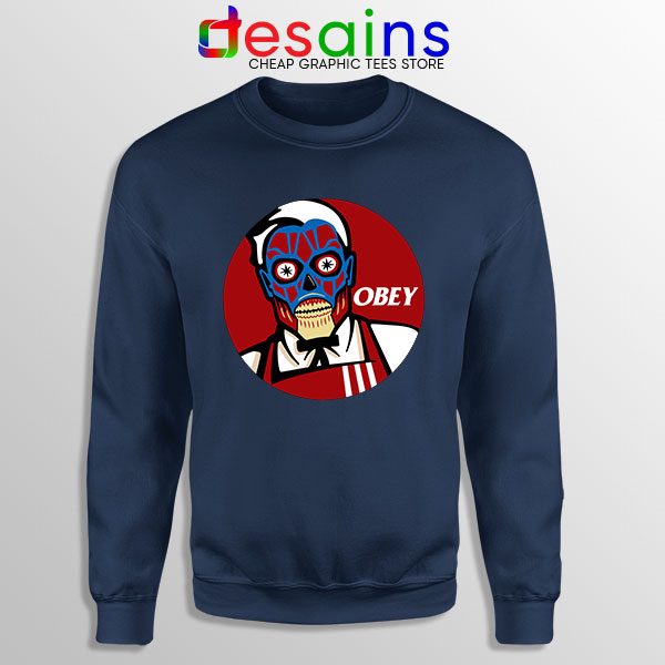 Funny Obey KFC Skull Navy Sweatshirt Face Bones Logo