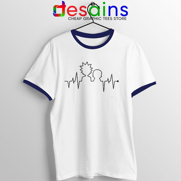 Funny Heartbeat Rick and Morty Navy Ringer Tee Adult Swim