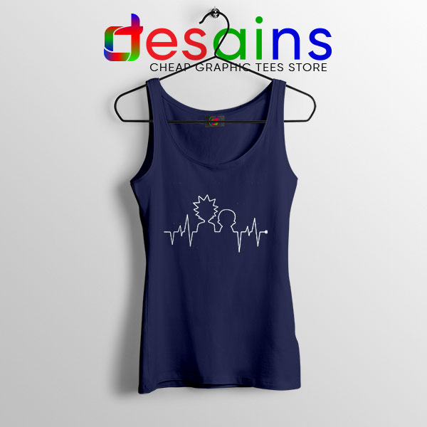 Funny Heartbeat Rick and Morty Navy Tank Top Adult Swim