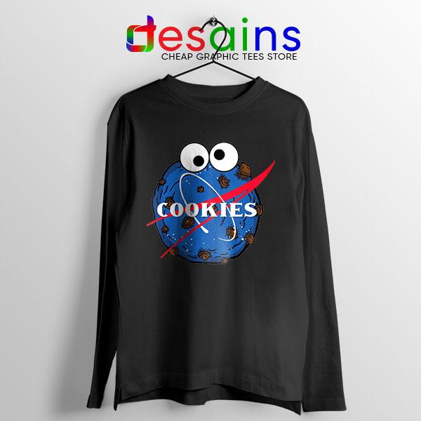 NASA Space Cookies Black Long Sleeve Tee Funny Old Logo