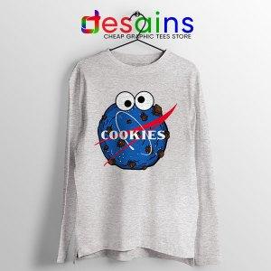NASA Space Cookies Sport grey Long Sleeve Tee Funny Old Logo