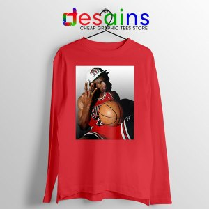Best Three Point Jordan Red Long Sleeve Tee Legend NBA