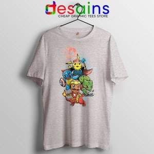 Cute Pokemon Avengers Sport Grey T Shirt Pokengers