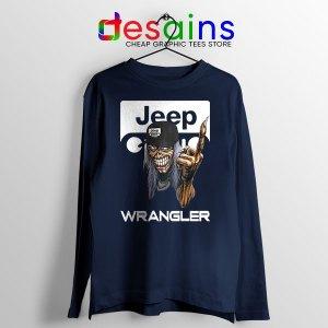 Jeep Maiden Skull Navy Long Sleeve Tee Wrangler Heavy Metal
