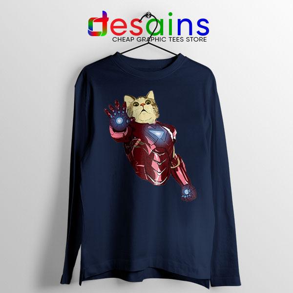 Meow Iron Man Avengers Navy Long Sleeve Tee Funny Cats