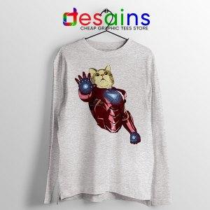 Meow Iron Man Avengers Sport Grey Long Sleeve Tee Funny Cats