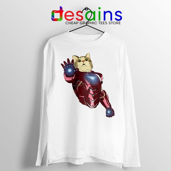 Meow Iron Man Avengers White Long Sleeve Tee Funny Cats