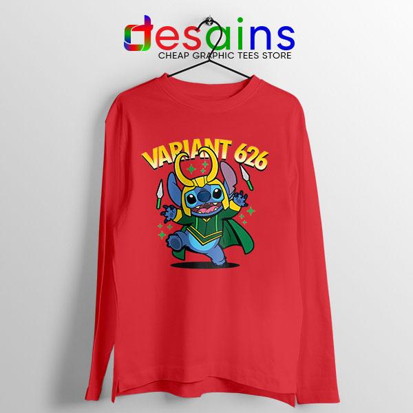 Variant Loki Stitch Red Long Sleeve Tee Marvel Comics TVA