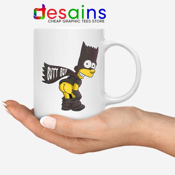 Batman Bart Butt Boy White Mug Cartoon Funny