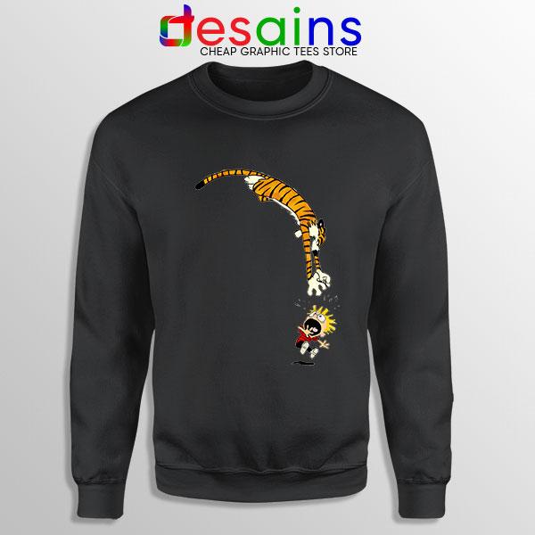 Calvin and Hobbes Jump Black Sweatshirt Funny Strip
