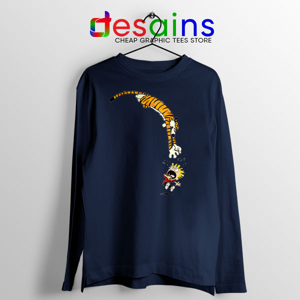 Calvin and Hobbes Jump Navy Long Sleeve Tee Funny Strip