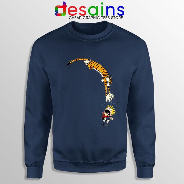 Calvin and Hobbes Jump Navy Sweatshirt Funny Strip