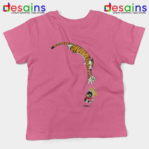Calvin and Hobbes Jump Pink Kids Tee Funny Strip