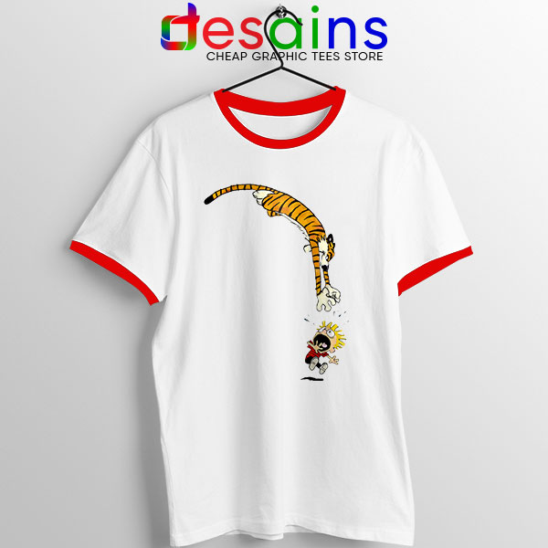 Calvin and Hobbes Jump Red Ringer Tee Funny Strip
