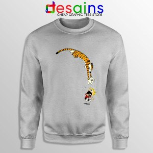 Calvin and Hobbes Jump Sport Grey Sweatshirt Funny Strip
