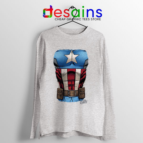 Captain America Chest Flag Sport Grey Long Sleeve Tee Avengers