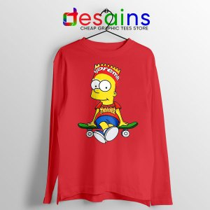 Funny Bart Simpson Skateboard Red Long Sleeve Tee Skate