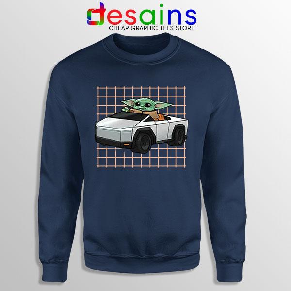 Funny Cybertruck Baby Yoda Navy Sweatshirt Tesla