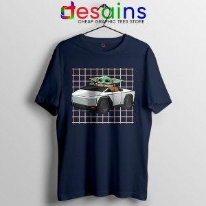 Funny Cybertruck Baby Yoda Navy T Shirt Tesla