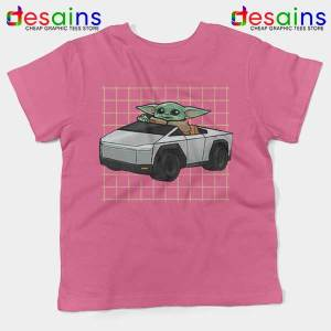 Funny Cybertruck Baby Yoda Pink Kids Tee Tesla