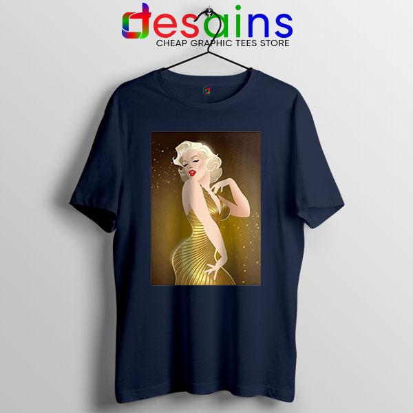 Marilyn Monroe Gold Smile Navy T Shirt Sexy Actress