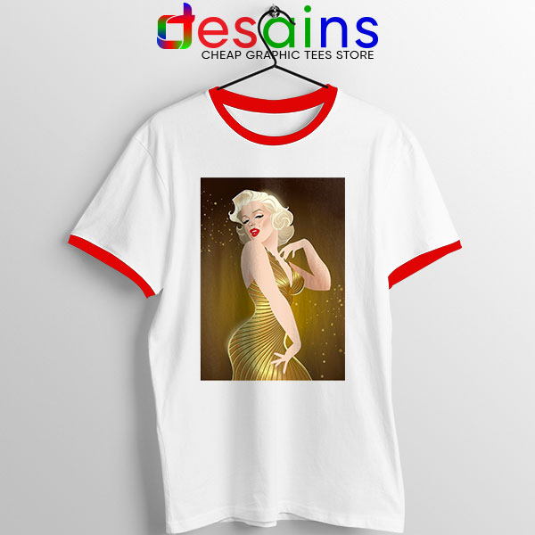 Marilyn Monroe Gold Smile Red Ringer Tee Sexy Actress