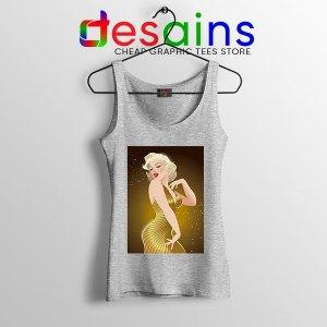 Marilyn Monroe Gold Smile Sport Grey Tank Top Sexy Actress