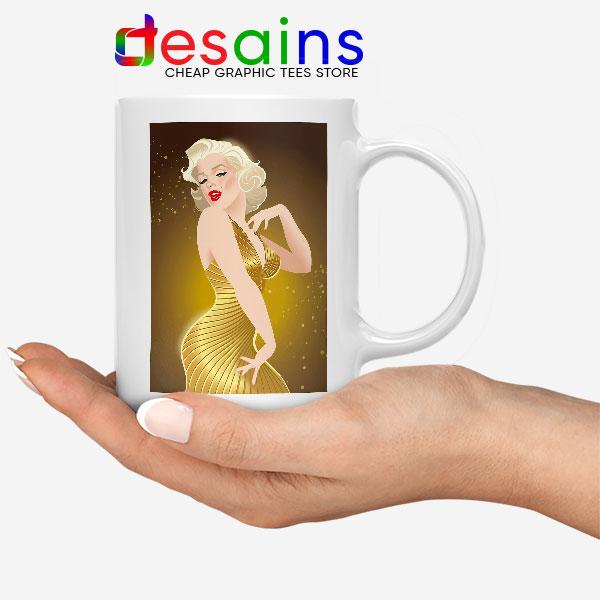 Marilyn Monroe Gold Smile White Mug Sexy Actress